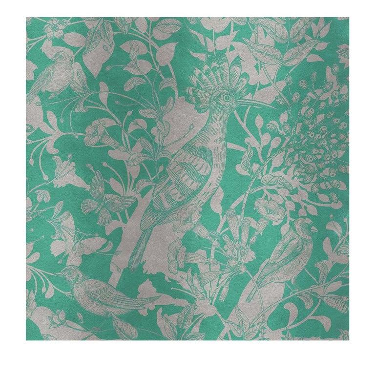 Modern Hoopoe Birds Green Panel #2 For Sale