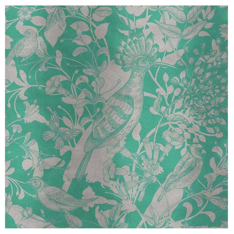 Hoopoe Birds Green Panel #2 For Sale