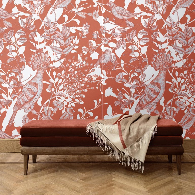 Part of the Hoopoe Birds collection and featuring a superb scene of birds, butterflies, and flowers depicted in red, all casting a white shadow on the red background, this eclectic wall covering will make a statement in any interior. It was crafted