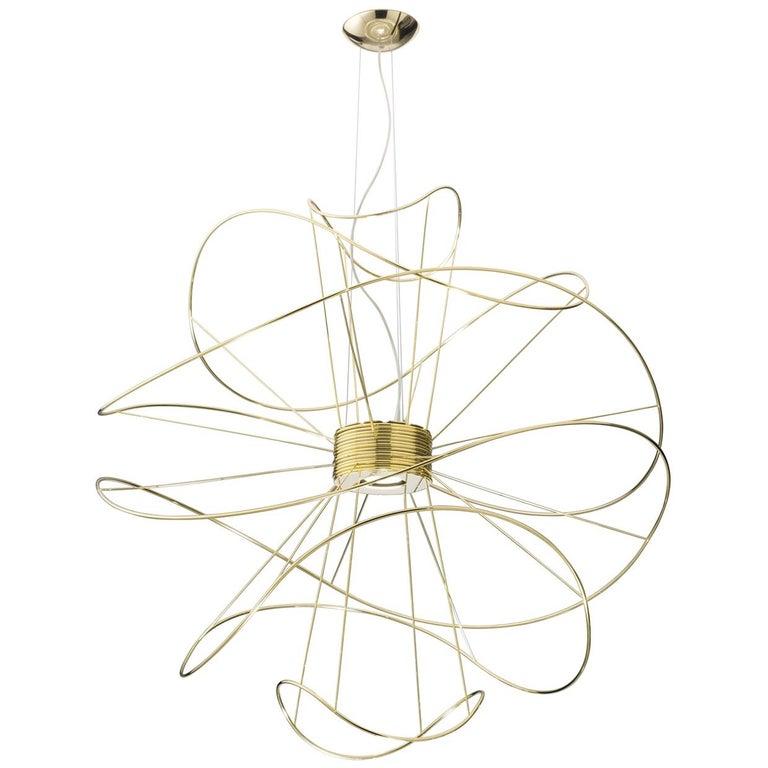 Hoops 6 Modern Italian Abstract Grand LED Pendant Gold, Black or White For Sale