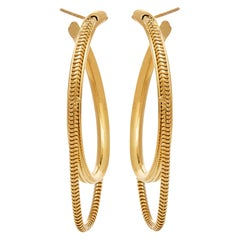 Hoops Medium Minimal Round with Snake Chain 18kGold-Plated Silver Greek Earrings