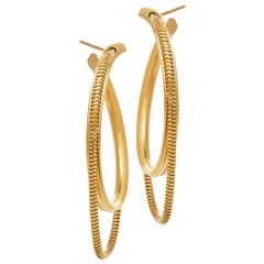 Hoops Medium Minimal Round with Snake Chain Gold-Plated Silver Greek Earrings
