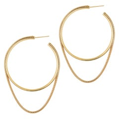 Hoops Minimal Large Circle with Snake Chain Gold-Plated Silver Greek Earrings