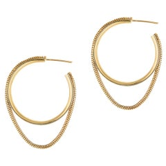 Hoops Minimal Small Circle Movement SnakeChain Gold-Plated Silver Greek Earrings