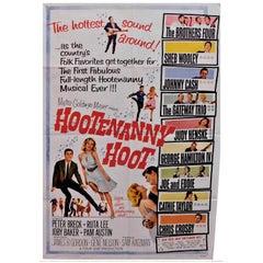 """""""Hootenanny Hoot"""" 1963 Folk Rock Music Original Movie Poster Johnny Cash"""