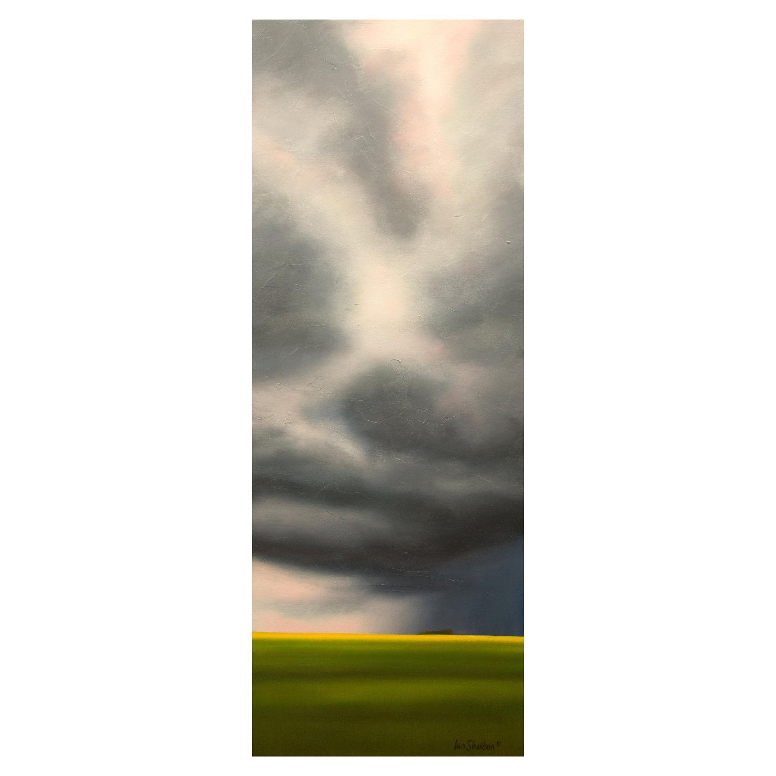 """Hope Element"" Green, Blue, Oil on Canvas Storm Landscape by Ian Sheldon"