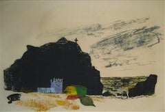 Coastal Scene with Rocks & Hills 1960s Woodcut Original Print