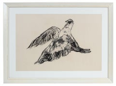 """Dove"" Monochromatic Bird Woodcut, 1960s"