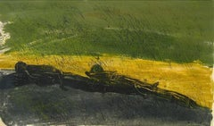 """""""Lazy Days"""" 1968 Woodcut in Green and Yellow"""