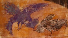 """""""The Cock Fight"""" 1963 Woodcut in Burnt Orange and Maroon"""