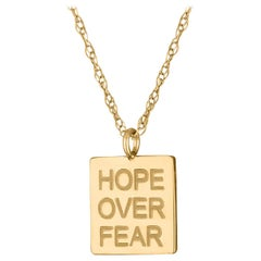 Hope Over Fear Pendant, 14 Karat Yellow Gold