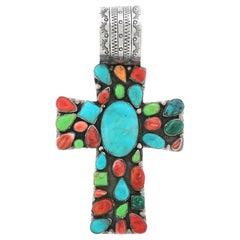 Hopi Stone-Set Sterling Cross by Marcus Yowytewa