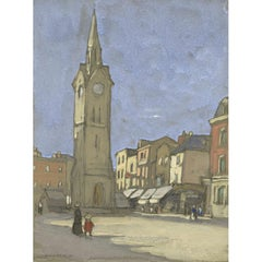 Horace Mann Livens, 'Aylesbury Town Square with People' (1914) Gouache on paper
