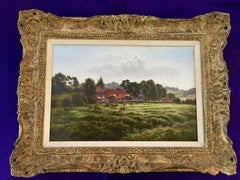 English Victorian farm scene with landscape in Summertime