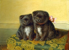 Early 20th Century Painting of Black Pomeranian Puppies