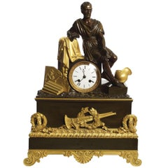 """Horatius & the Fall of Rome"" French Empire Antique Bronze Mantel Clock"