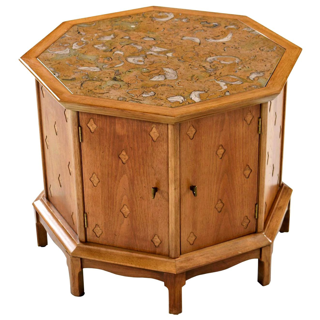 Horizon By Thomasville Moroccan Style Abstract Stone Top Octagon Commode Cabinet