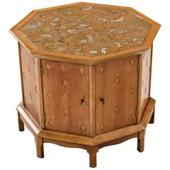 Horizon By Thomasville Morrocan Style Abstract Stone Top Octagon Commode Cabinet