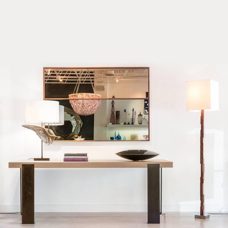 'Horizon' Contemporary Walnut with Bronze and Grey Mirror by Carbonell Design In New Condition For Sale In Miami, FL