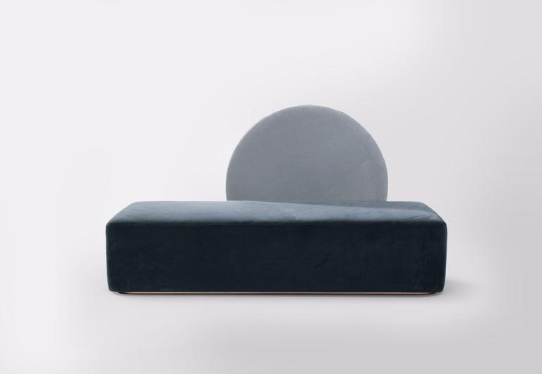 Art Deco Horizon Sofa Velvet Upholstery Brass Large Size For Sale