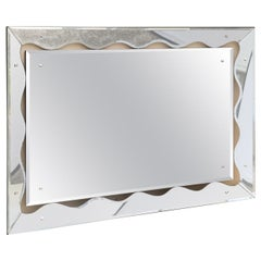 Horizontal or Vertical Silvered Mirror Vintage Mid-Century Modern