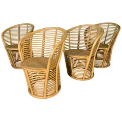Horizontal Rattan Barrel Dining Chairs in the Manner of Franco Albini, Set of 4