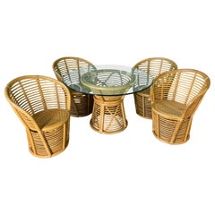 Horizontal Rattan Dining Set in the Manner of Franco Albini