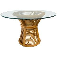 Horizontal Rattan Pedestal Dining Table
