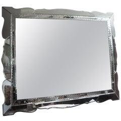Horizontal Venetian Beveled Mirror With Scalloped Border