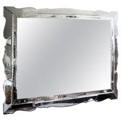 Horizontal Venetian Beveled Mirror with Scalloped Border