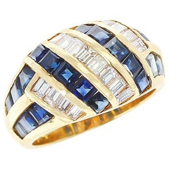 Horizontally and Vertically Invisibly Set Sapphire and Diamond Ring, 18K Yellow