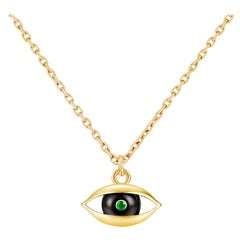 Small Eye Pendant (Horizontal) 18 Karat Yellow Gold Onyx Emerald Diamond