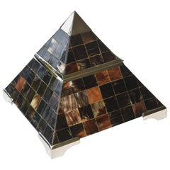 Horn and Chrome Pyramid Hinged Box