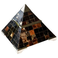 Horn and Chrome Pyramid Hinged Box Vintage Desk Accessory