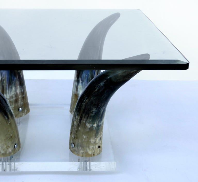 American Horn and Lucite Coffee Table or Low Side Table with Glass Top For Sale
