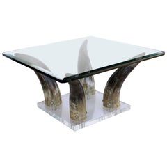 Horn and Lucite Coffee Table or Low Side Table with Glass Top