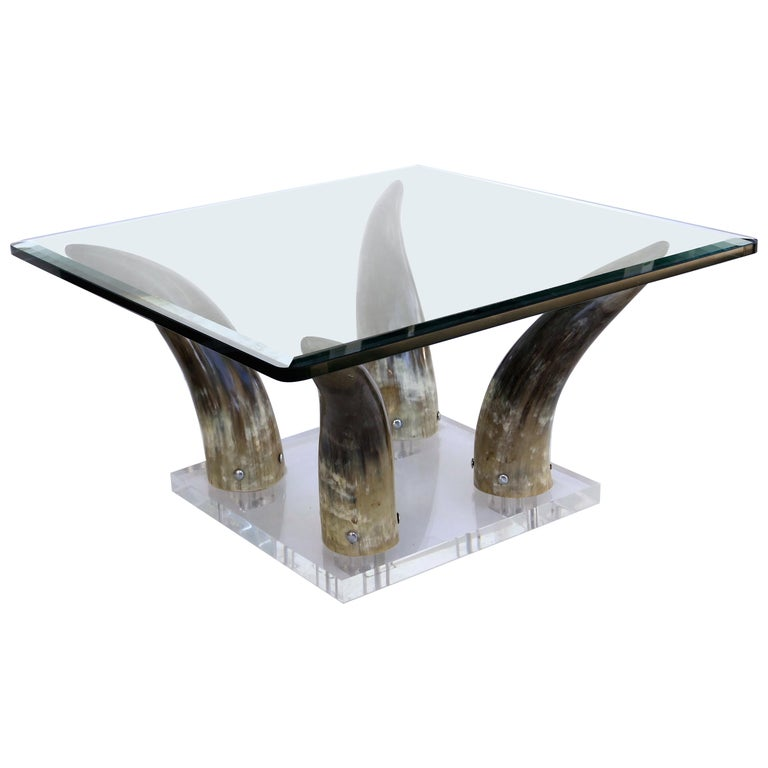 Horn and Lucite Coffee Table or Low Side Table with Glass Top For Sale