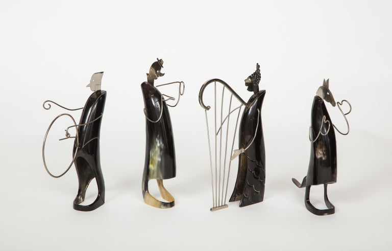 Art Deco Horn and Metal Musical Ensemble For Sale