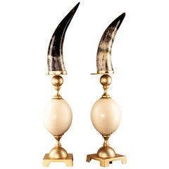 Horn and Ostrich Eggshell Table Top Accessory Polished Solid Brass Florence Made