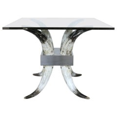 Horn, Stainless Steel and Glass Center Table
