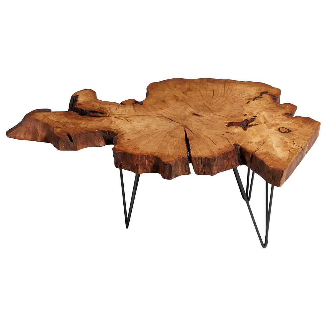 Hornbean Tree Live Edge Coffee Table, Live Edge Table, Rustic Edge End Table