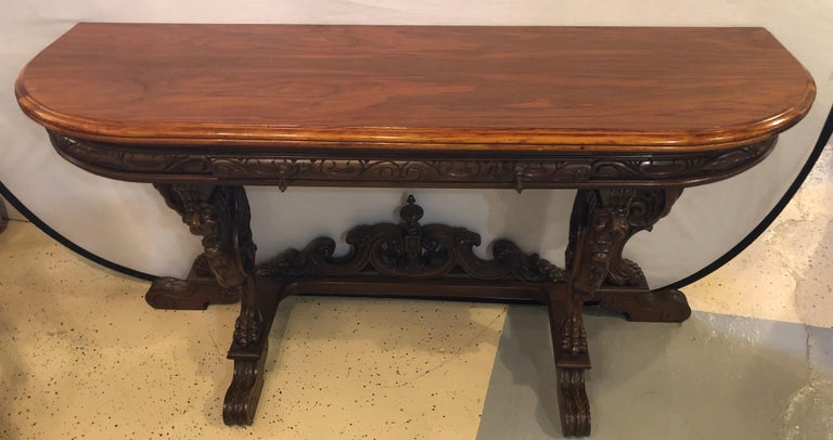 Horner Brothers Quality Flip Top Dining Table With 4 Full Bod Winged Griffins