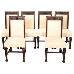 Horner Chairs Set of 6 Cream Cotton Upholstery Art Nouveau