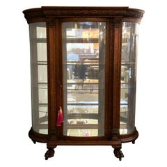 Horner or Herter Brothers Carved China Cabinet Vitrine circa 1920 of Tiger Oak