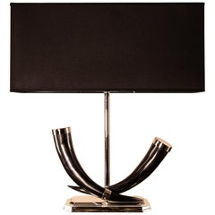 Horns Table Lamp, Pair of Black American Horns, Solid Brass Nickel-Plated, Italy