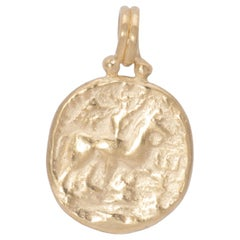 Horse and Rider Coin Pendant in 18 Karat Gold