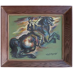 Umberto Romano 1953 Gouache Painting of a Horse and Rider