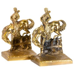 Horse and Rider Solid Cast Bronze Bookends