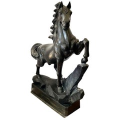 Horse, Black Marble Animal Sculpture