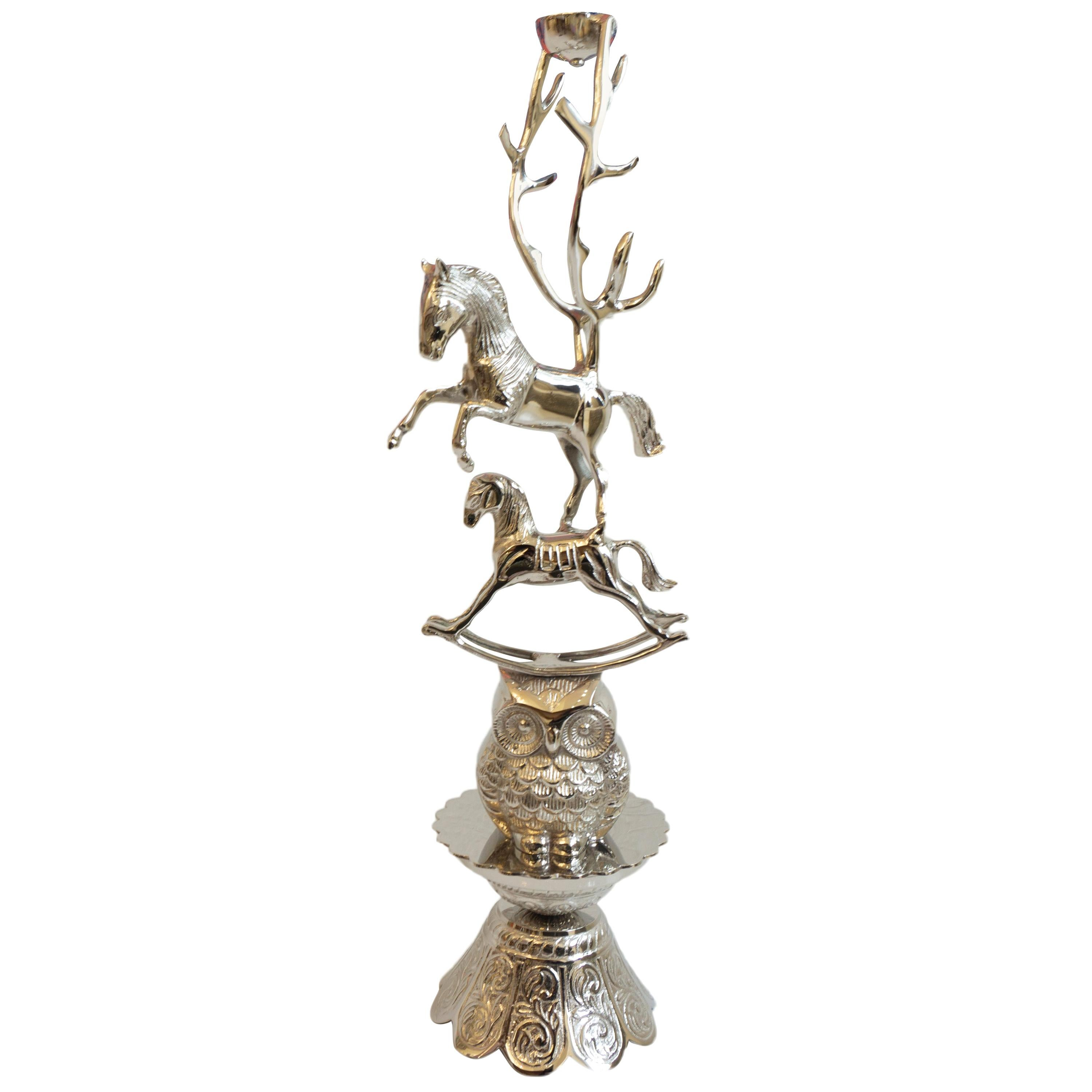 Owl, Horse and Rocking Horse Candle Stand